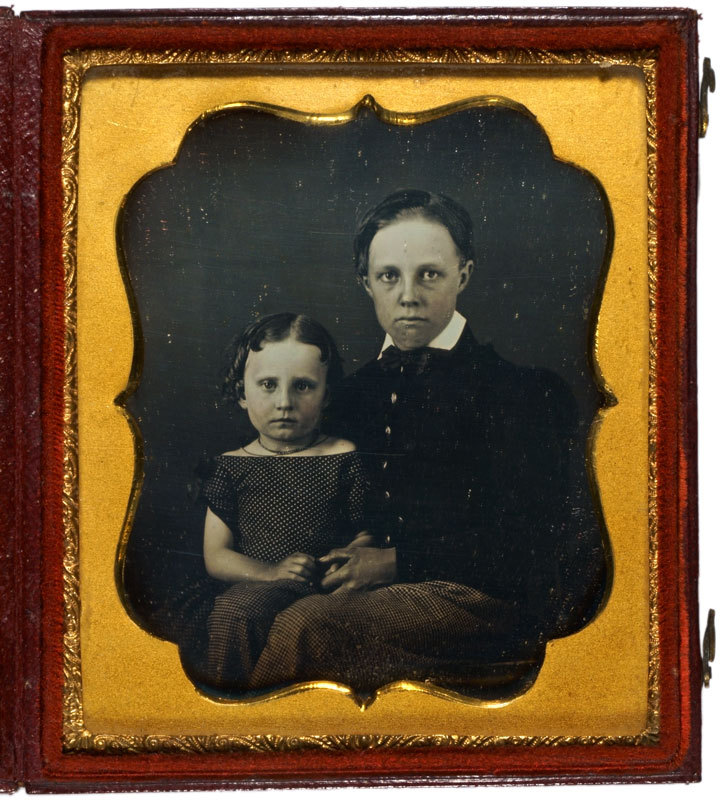 Daguerreotype of a boy and girl