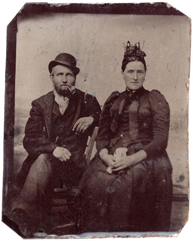 Tintype of a man and woman