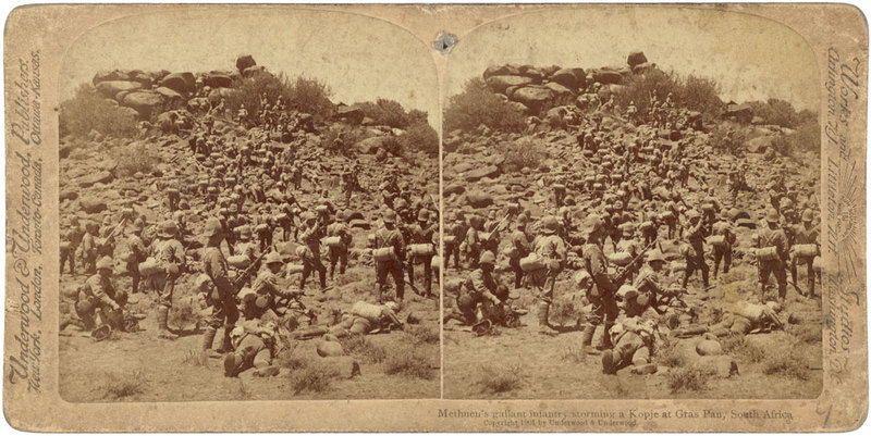 Methuen's gallant infantry storming a Kopje Pan, South Africa.