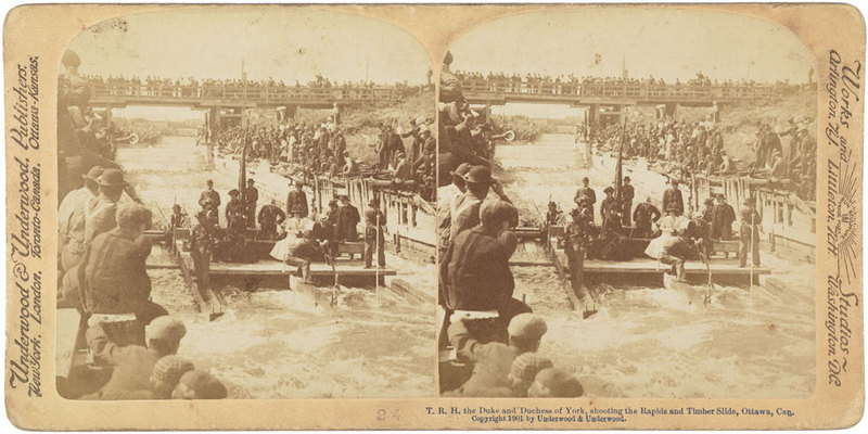 T.R.H the Duke and Duchess of York, shooting the Rapids and Timber Slide, Ottawa, Canada.
