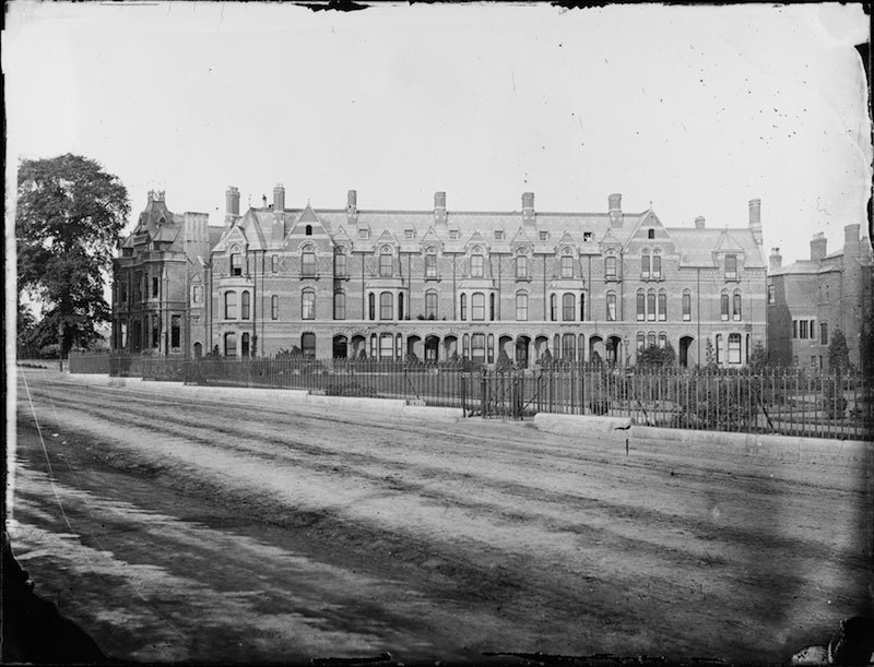 Glass negative of Stoneleigh Street on Greyfriars Green, Coventry