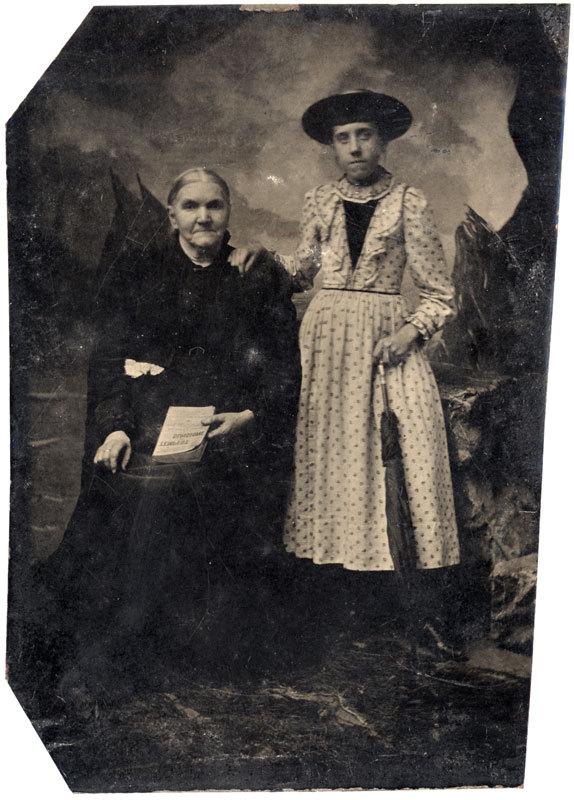 Tintype of two women