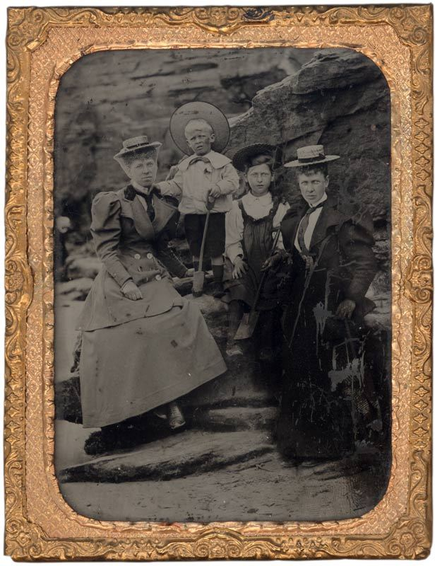 Ambrotype of a family at the seaside