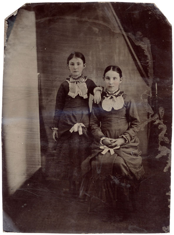 Tintype of two young women