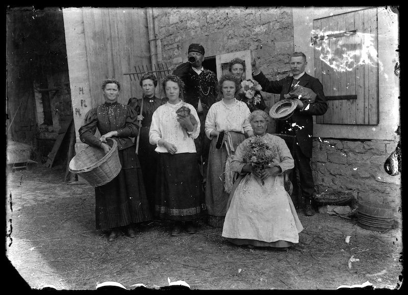 Glass Negative of a group of people