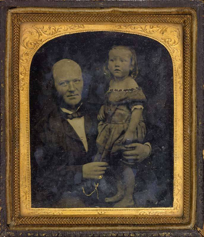 Ambrotype of a father and daughter