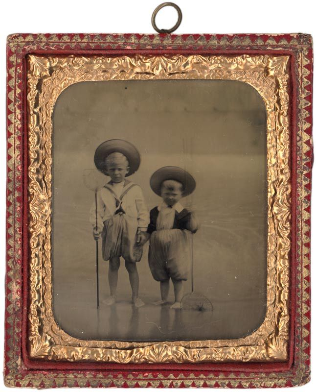 Ambrotype of two boys at the seaside