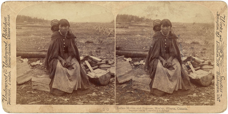 Indian Mother and Papoose, Morley, Alberta, Canada.