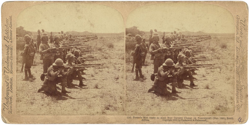 Col. Porters Men ready to meet Boer Cavalry Charge on Nauuwpoort (Dec 13th), South Africa.